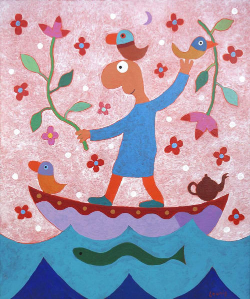 Paintings by Michael Leunig seen at Private Residence, Northcote - Pilgrim