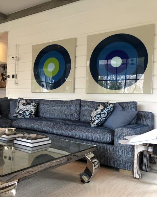 Paintings by Stephanie Henderson Paintings at Private Residence, Greenwich - Pair of Ultra Glossy Targets in Blue