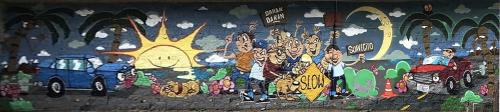 Murals by Sébastien Walker seen at Temple Seafood Market Inc, Los Angeles - Mural
