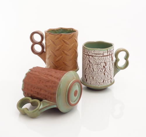 Cups by VEpottery seen at Private Residence, Helena - Texture Mugs