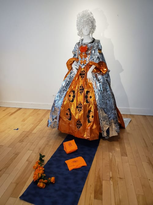 Sculptures by Judith Joseph seen at Koehnline Museum of Art, Des Plaines - Marie Antoinette Visits The Border