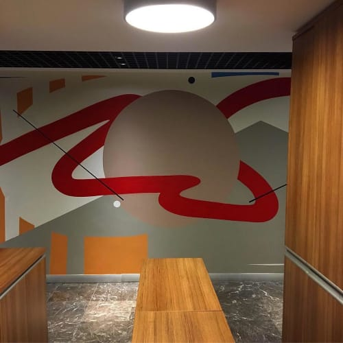 Murals by Mr. Hure seen at AKT Law Firm - mural (geometric)