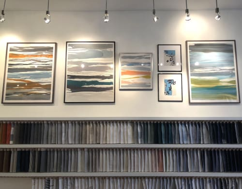 """Paintings by Rob Delamater seen at Serena & Lily Design Shop, San Francisco - Various works from """"In Between Color"""" and """"French Botanical"""" series"""