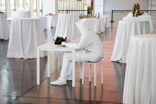 Public Sculptures by Octavi Serra seen at BCD Barcelona Centre de Disseny, Barcelona - Cloth sculpture with resin