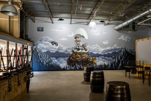 Murals by Thomas Turner Art seen at Pontoon Brewing Company, Sandy Springs - Dawn Moon