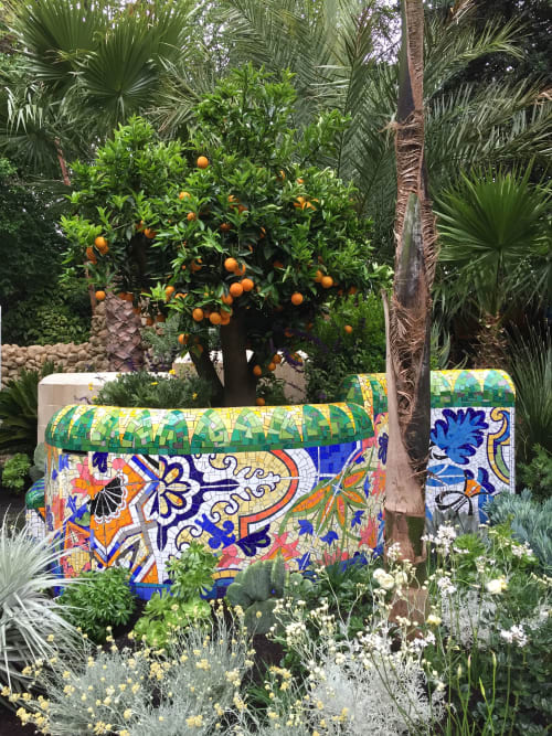 Plants & Landscape by Gary Drostle – Drostle Public Arts Ltd seen at Private Residence, London - Inspired by Barcelona, garden mosaic wall and bench