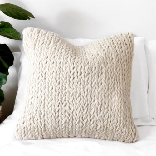 Pillows by Coastal Boho Studio seen at Private Residence, Destin - Monet Wool Pillow Cover
