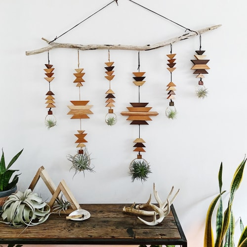 Wall Hangings by Wildly Urban seen at Private Residence - Southwest Inspired Wood Plant Hanger