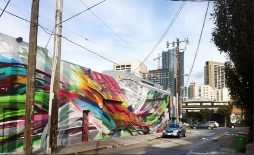 Murals by Mike Bam Tyau seen at 18 Dore Street, San Francisco - Tank 18 Wine Bottling