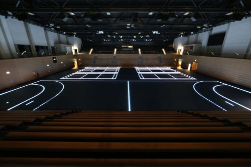 Architecture by ASB GlassFloor seen at Sportpark Ostra, Dresden - BallsportArena Dresden