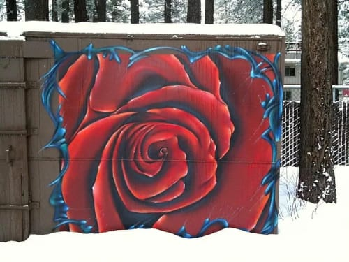 Murals by Max Ehrman (Eon75) seen at Private Residence, South Lake Tahoe - A Rose For You