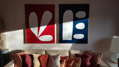 Paintings by Kerry Campbell seen at Private Residence, Cologne - Flower Bloom and Reflection II