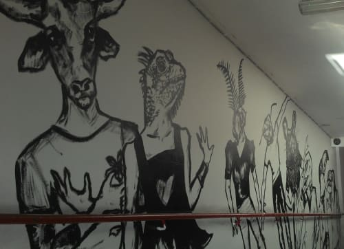 Murals by Hillary L Van Scoy seen at The Flying Duck, Glasgow - Stairway Mural