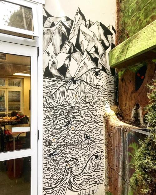 Murals by Haley Linnet seen at Trek Global Backpackers, Wellington - Wall Mural