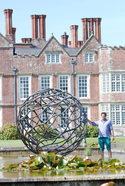 Sculptures by Giles Rayner seen at Burton Agnes Hall, Burton Agnes - Neptune Sculpture