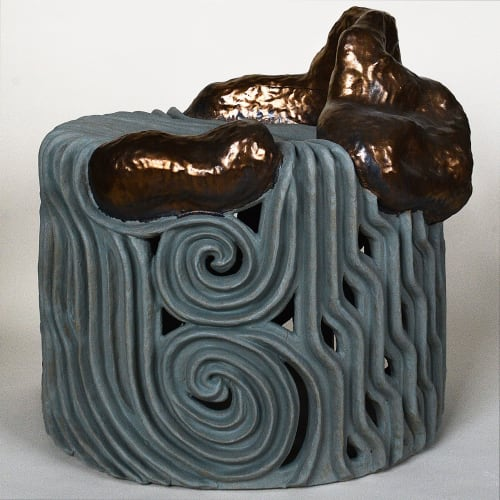 Chairs by Christopher Maschinot seen at Creator's Studio, Brooklyn - Ceramic chair - River Landscape