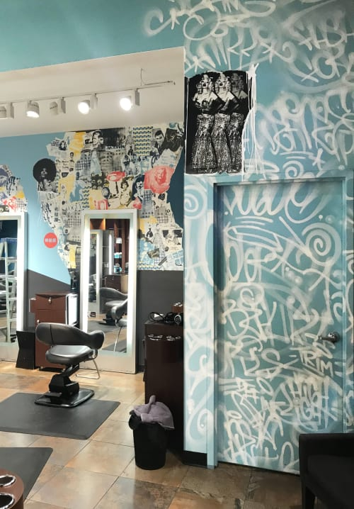 Murals by Michael Crossett seen at Bang Salon Gallery Place, Washington - Bang Salon