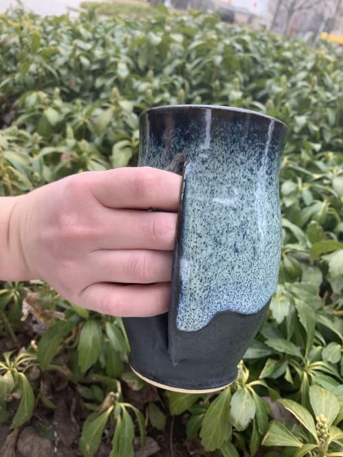 Cups by Art By Bratto seen at Private Residence, St. Clair Shores - Green Velvet Hand Warmer Mug