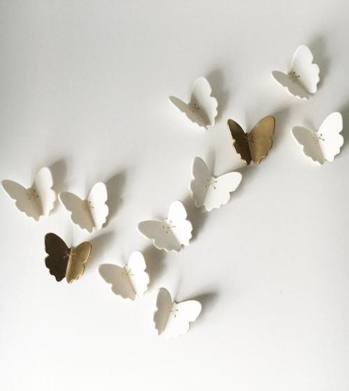 Art & Wall Decor by Elizabeth Prince Ceramics seen at Creator's Studio, Manchester - Set of 11 Gold & White Porcelain Ceramic Butterflies