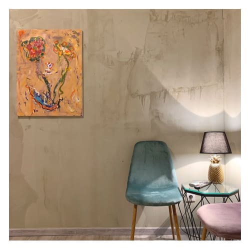 Paintings by Orlando Marosini seen at The 7 Budapest, from - Orange Vase Euphoric Flowers