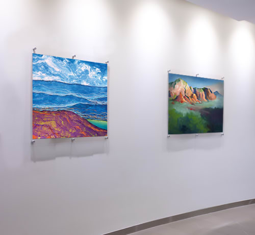 Paintings by Catherine Twomey seen at Mission Hospital, Asheville - Running Dog Cloud Shadows