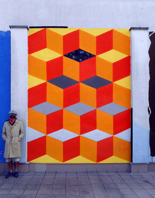 Street Murals by Mike Ortalion seen at Braniewski Cultural Center, Braniewo - Development - mural painted for Braniewo Cultural Centre, Poland 2017