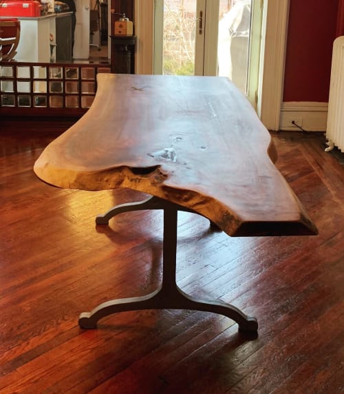 Tables by Creation Therrien seen at Private Residence, Brooklyn - Black Walnut Table