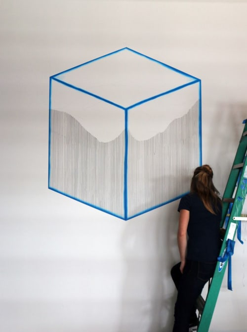 Murals by Katy Ann Gilmore seen at Private Residence, Detroit - Cubed Terrain