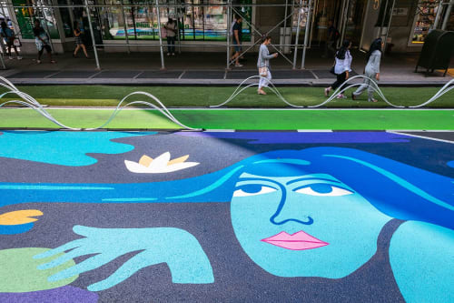 Street Murals by Carla Torres seen at Broadway, New York - The Nymph Pond
