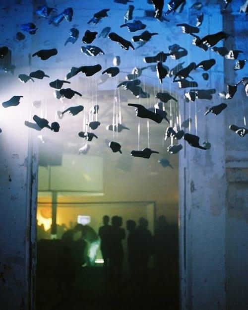 Public Sculptures by Octavi Serra seen at El Poblenou, Barcelona - Black cloud
