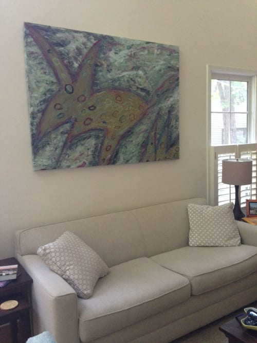 "Paintings by Michael Patterson ""push paint studios"" Charlotte NC USA seen at Private Residence, Charlotte - Spotted Canine    modern abstract large canvas."