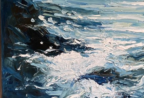 Paintings by Rupert Aker seen at Private Residence - Cornish seascape in a contemporary home