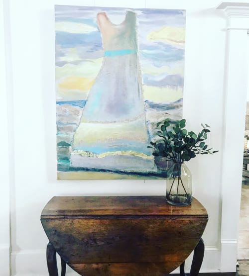 Paintings by Polly Alice seen at Oak Street Mansion, Kansas City - Cruce del Rio: River Dress