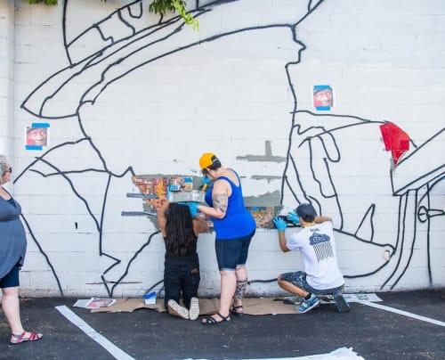 "Public Mosaics by J MUZACZ seen at East Cesar Chavez, Austin - ""The Grey Ghost"""