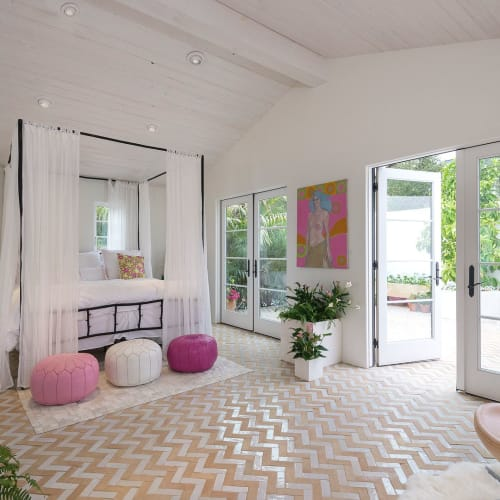 Tiles by Zia Tile seen at Private Residence, Los Angeles - Zellige Pure White and Unglazed Natural