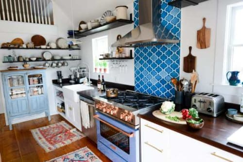 Tiles by Fireclay Tile seen at Fare Isle's (Kaity's) Kitchen, Nantucket - Hex Tiles - Aegean Sea