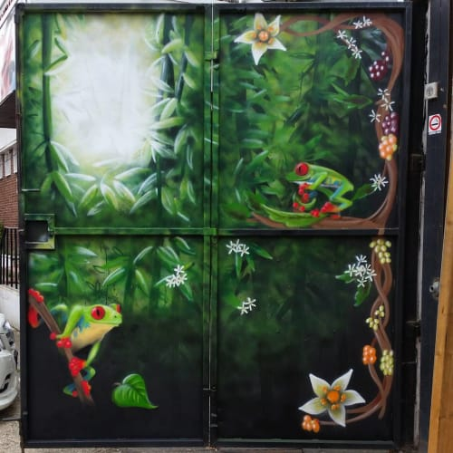 Murals by Pixie London seen at Craving Coffee, London - Frog and Flower Door