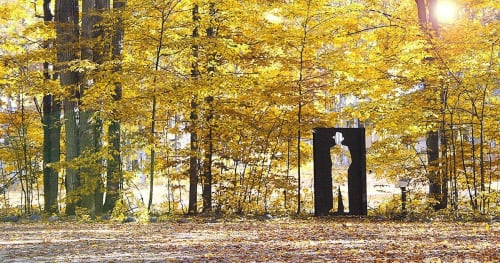 Public Sculptures by John Sauve seen at Crystal Mountain, Thompsonville - Strum