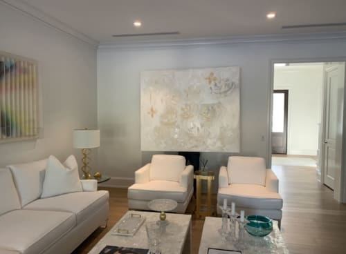 Paintings by Carol Calicchio Art Studio seen at Private Residence, Gulf Stream - Devon White