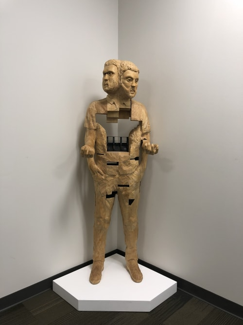 "Art Curation by J.W. Archer seen at Texas Tech University, Lubbock - ""Loss As Gain"" (Life-size Wood Figure)"