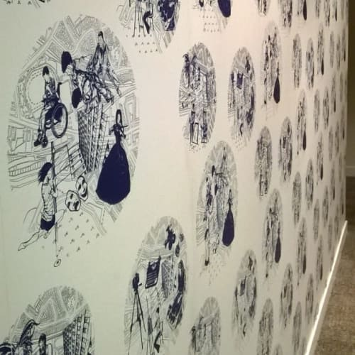 Wallpaper by Moody Monday seen at St Margaret's House, Edinburgh - Hand-printed Wallpaper