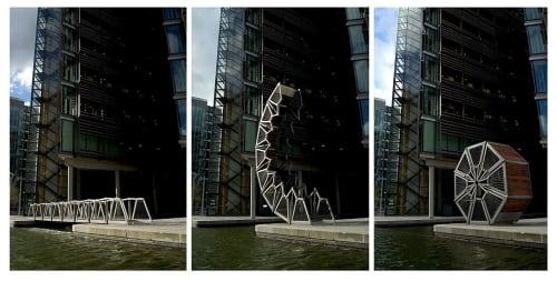 Architecture by Heatherwick Studio seen at Paddington Basin, London - Rolling Bridge