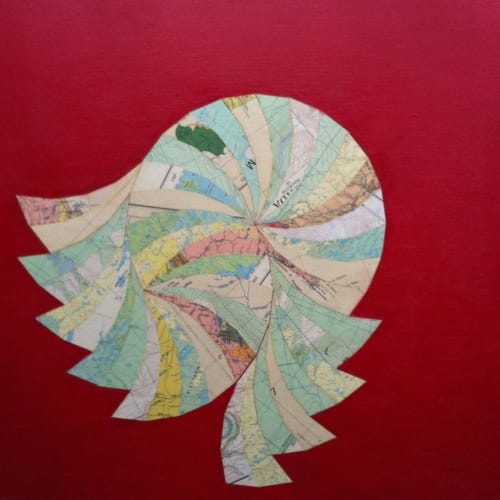 Paintings by Tristesse Seeliger seen at Piers Island - Spiral collage