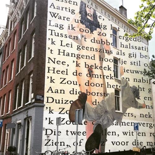 Street Murals by Rombout Oomen seen at Jacob van Lennepstraat, Amsterdam - Mural