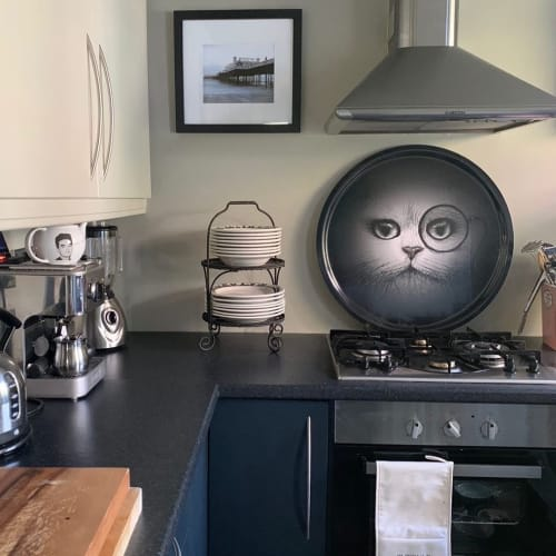 """Tableware by Rory Dobner seen at Hampstead Heath, London - """"Supersize Cat Monocle Black Tray"""""""