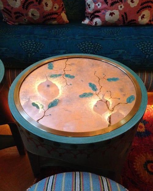 Furniture by Rupert Bevan Ltd seen at 5 Hertford Street Club, London - Verre Eglomise Table Tops