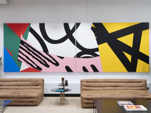Paintings by Andy Welland seen at WeWork 131 Finsbury Pavement, London - Loose Ends 13—14 Painting