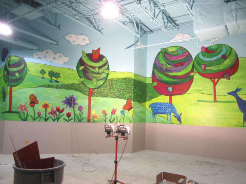 Murals by Emily Williams-Wheeler seen at West Acres Regional Shopping Center, Fargo - Children's Playroom