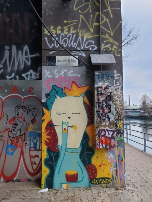 Street Murals by Its mancho seen at Geneva, Geneva - Chat Fondue