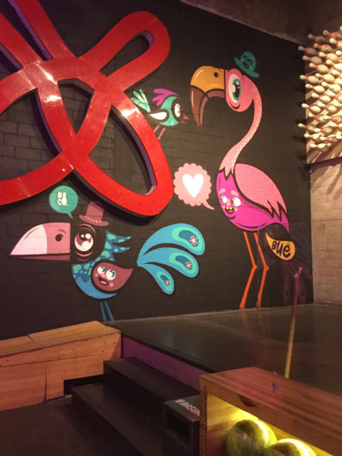 Murals by Bue The Warrior seen at Bowling Alley - Birds